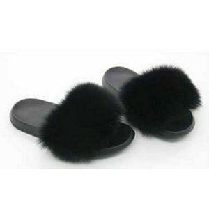 Shoes - Women's Fur Slide Slip Sandals Black Shoes 8.5